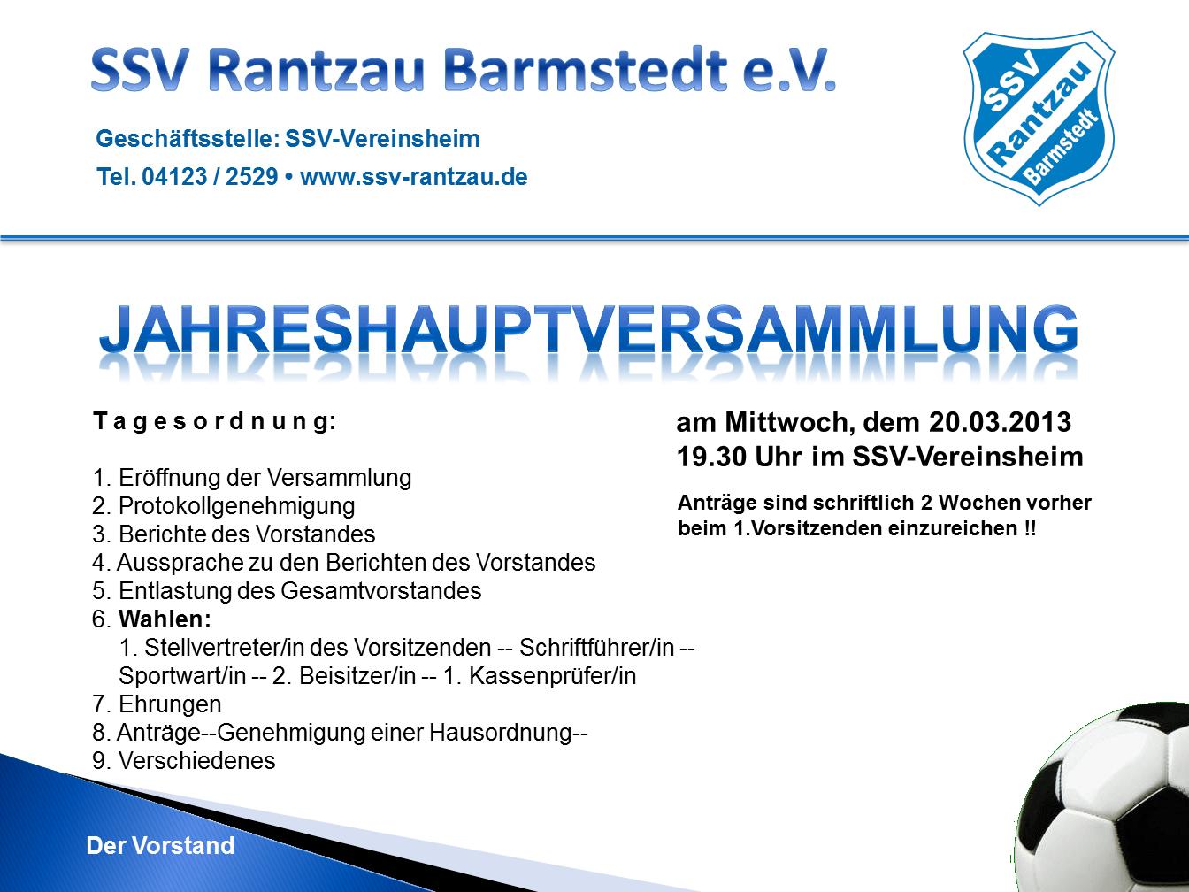 ssv rantzau - einladung zur jahreshauptversammlung 2013, Einladung