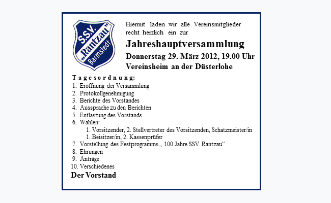 ssv rantzau - einladung zur jahreshauptversammlung 2012, Einladung
